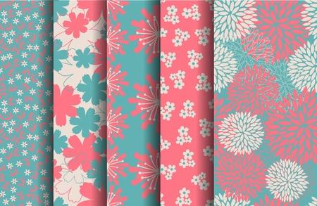Un conjunto de 5 patrones sin fisuras florales en tonos pastel rosa y azul.
