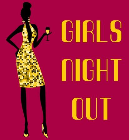 Illustration d'une jeune femme dans une robe dorée brillante s'amuser à une fête. Vecteurs