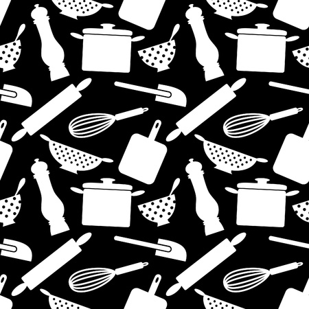 stew pot: Seamless pattern with kitchen items in black and white.