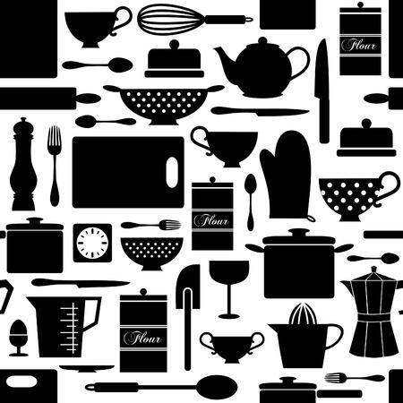 utencilios de cocina: Patrón sin fisuras con los artículos de la cocina en blanco y negro. Vectores