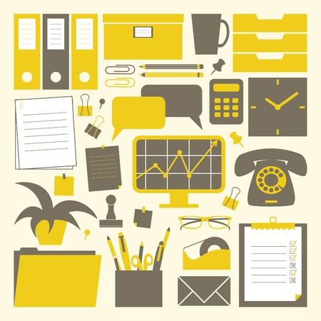 A collection of office related objects in yellow, dark grey and white.