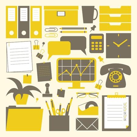 screen print: Una collezione di oggetti correlati ufficio in giallo, grigio scuro e bianco.