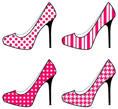 힐: 흰색과 핑크의 네 신발 아이콘의 세트를.