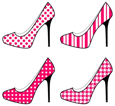 heels shoes: A set of four shoe icons in white and pink.