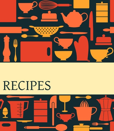 recipe book: Recipes card with different kitchen accessories and a banner.