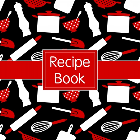 Recipe book design in black, white and red. Seamless pattern included. Vector