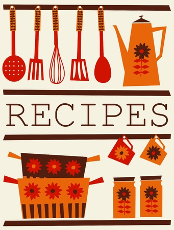 dinnerware: Illustration of kitchen accessories in retro style. Recipe card design.