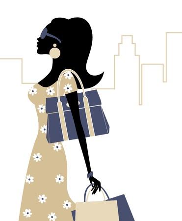 Ilustración de una mujer joven de moda con bolsas de la compra.