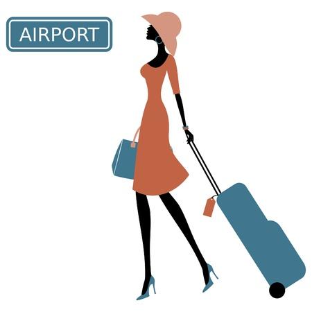 Ilustracja młodej kobiety z walizką na lotnisku.
