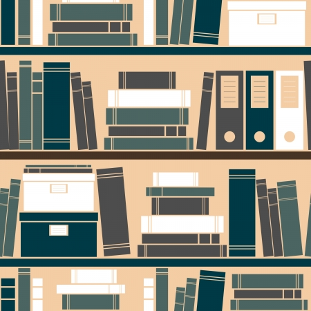 books library: Seamless pattern with books placed on a bookshelf