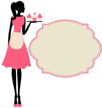 delantal: Ilustración de una chica retro lindo que sostiene una bandeja con pastelitos