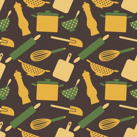 vintage dishware: Seamless pattern with kitchen items in retro style