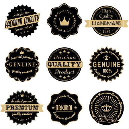 quality stamp: A set of vintage style stickers in black and golden isolated on white
