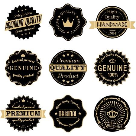 label: Een set van vintage stijl stickers in zwart en gouden op wit wordt geïsoleerd