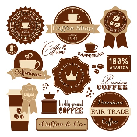 A collection of coffee design elements in retro style   Vector