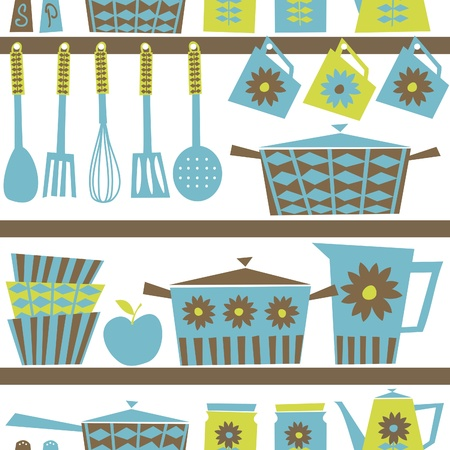 vintage dishware: Seamless pattern with kitchen utensils and dishware in retro style   Illustration