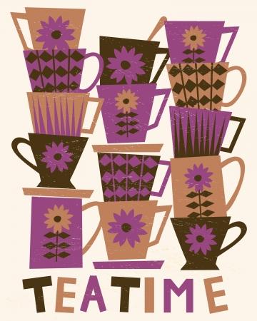 vintage: Illustratie van leuke thee kopjes gestapeld in stapels