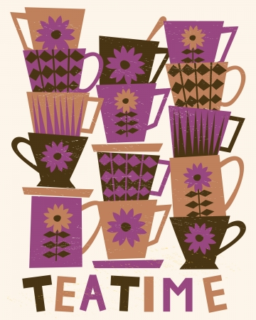 teatime: Illustration of cute tea cups stacked in piles   Illustration