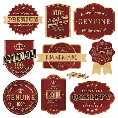 A set of vintage style labels in red and golden