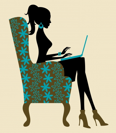 aretes: Ilustraci�n de una mujer joven que trabaja en la computadora port�til
