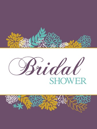 bridal shower: Bridal shower card with floral decoration. Illustration