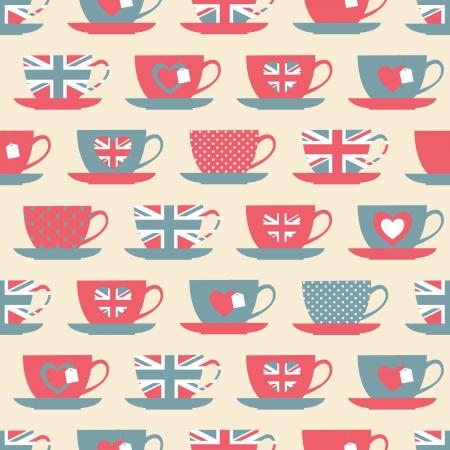 bandera inglaterra: Patrón sin fisuras con las tazas de té. Vectores