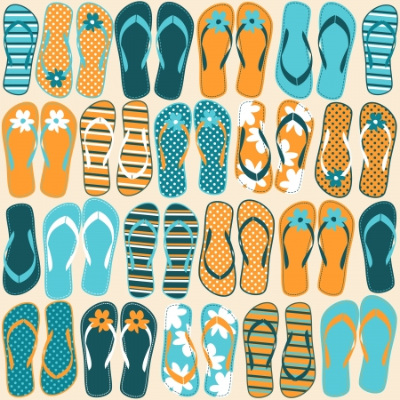 shoe print: Seamless pattern with colorful flip flops.