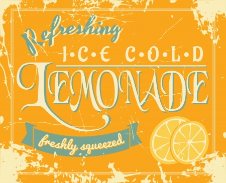 cold drinks: Lemonade poster in vintage style.