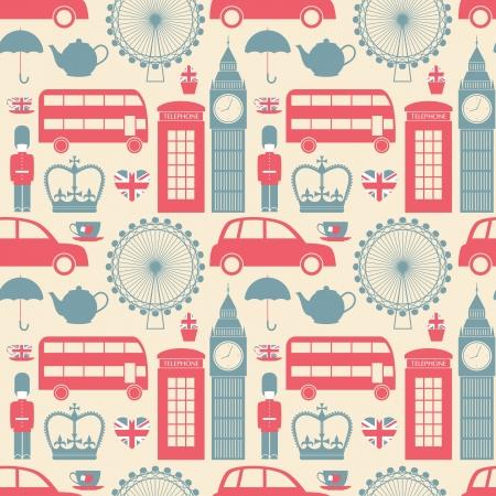 bandiera inghilterra: Seamless pattern con i simboli di Londra. Vettoriali