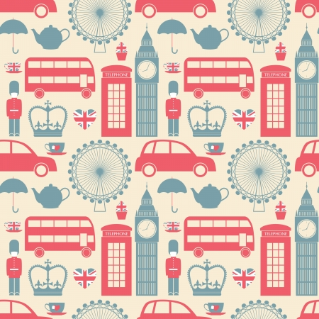 great britain flag: Seamless pattern with London symbols.