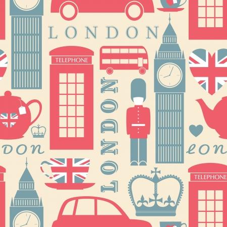 bandiera gran bretagna: Seamless pattern con i simboli di Londra. Vettoriali