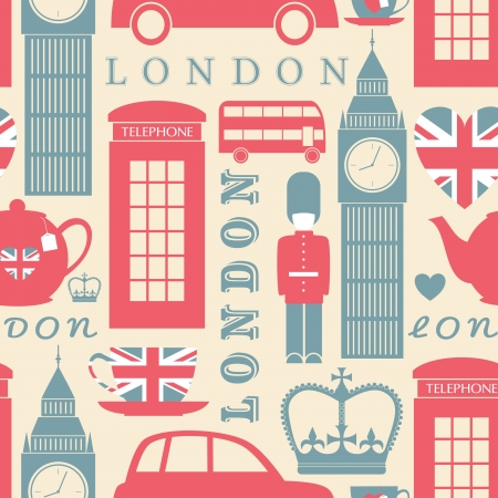 great britain: Seamless pattern with London symbols.