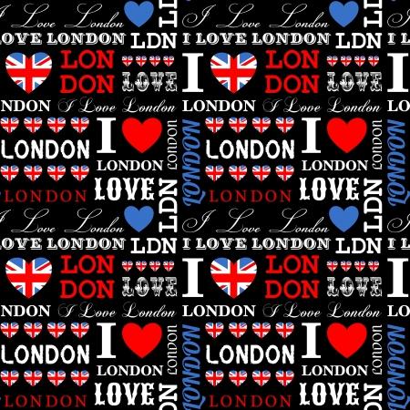 brytanii: I Love London bezproblemową wzór. Ilustracja