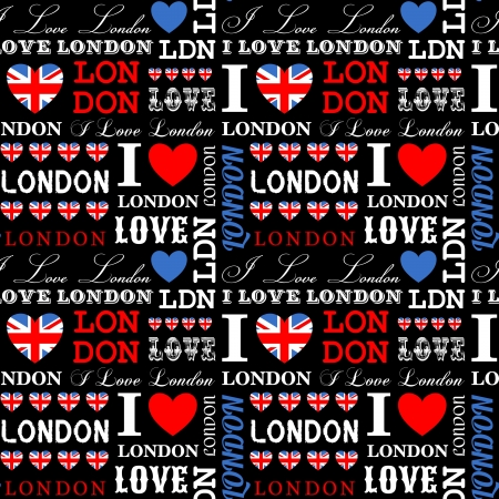 union jack: I Love London seamless pattern.