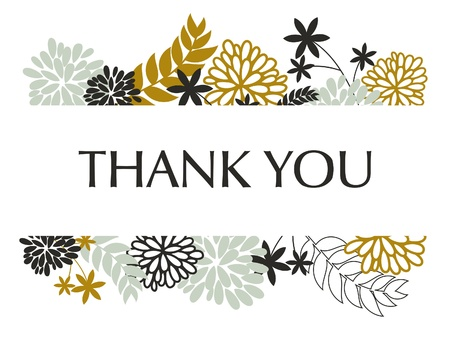 thank you card: A greeting card template with floral decoration. Illustration