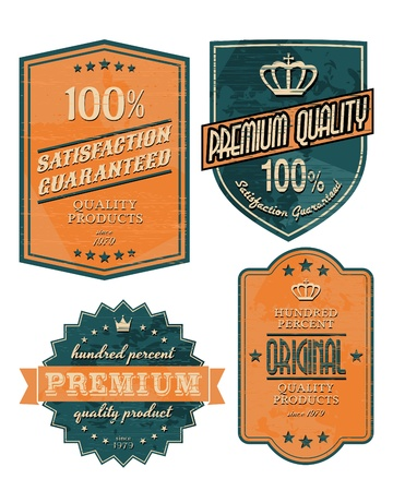 Vintage style premium quality labels in orange and blue. Vector