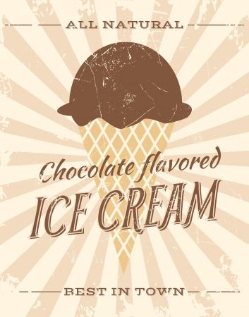 waffle ice cream: Vintage style illustration of chocolate ice cream.
