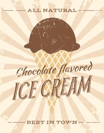 wafer: Vintage style illustrazione di gelato al cioccolato.