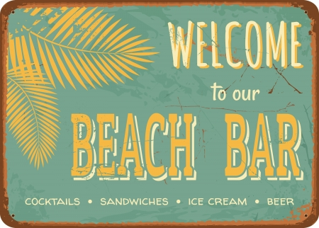 the fifties: Esta�o estilo vintage signo Beach Bar Vectores