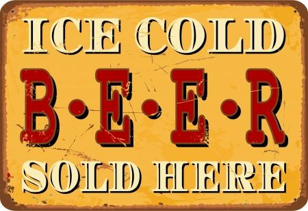 rust red: Esta�o estilo vintage signo Ice Cold Beer Vectores
