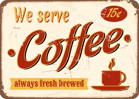 빈티지 스타일의 주석 신선한 양조 커피에 서명. 일러스트