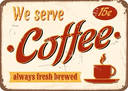 rust red: El esta�o de estilo vintage firmar caf� reci�n hecho.