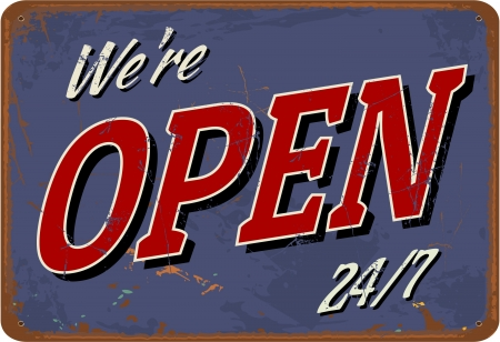 50s: Vintage style tin sign Open. Illustration