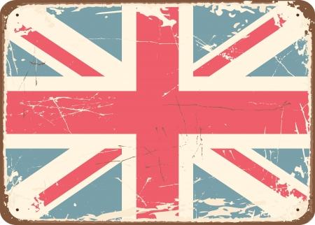 worn sign: Estilo vintage Cartel de chapa con la bandera brit�nica.