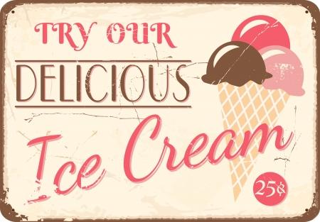 helado cucurucho: Estilo vintage Cartel de chapa con helado. Vectores