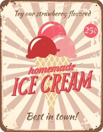 ice cream cone: Vintage style tin sign with ice cream.
