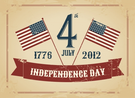 Vintage style greeting card for Independence Day. Vector