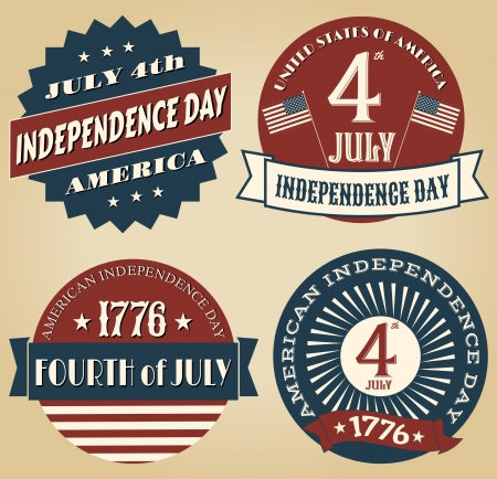 A set of four vintage style design elements for Independence Day. Vector
