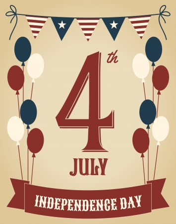 Vintage style greeting card for Independence Day  Vector