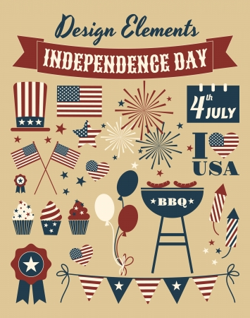 A set of design elements for Independence Day  Vector